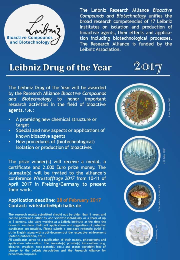 Announcement Leibniz Drug of the year 2017