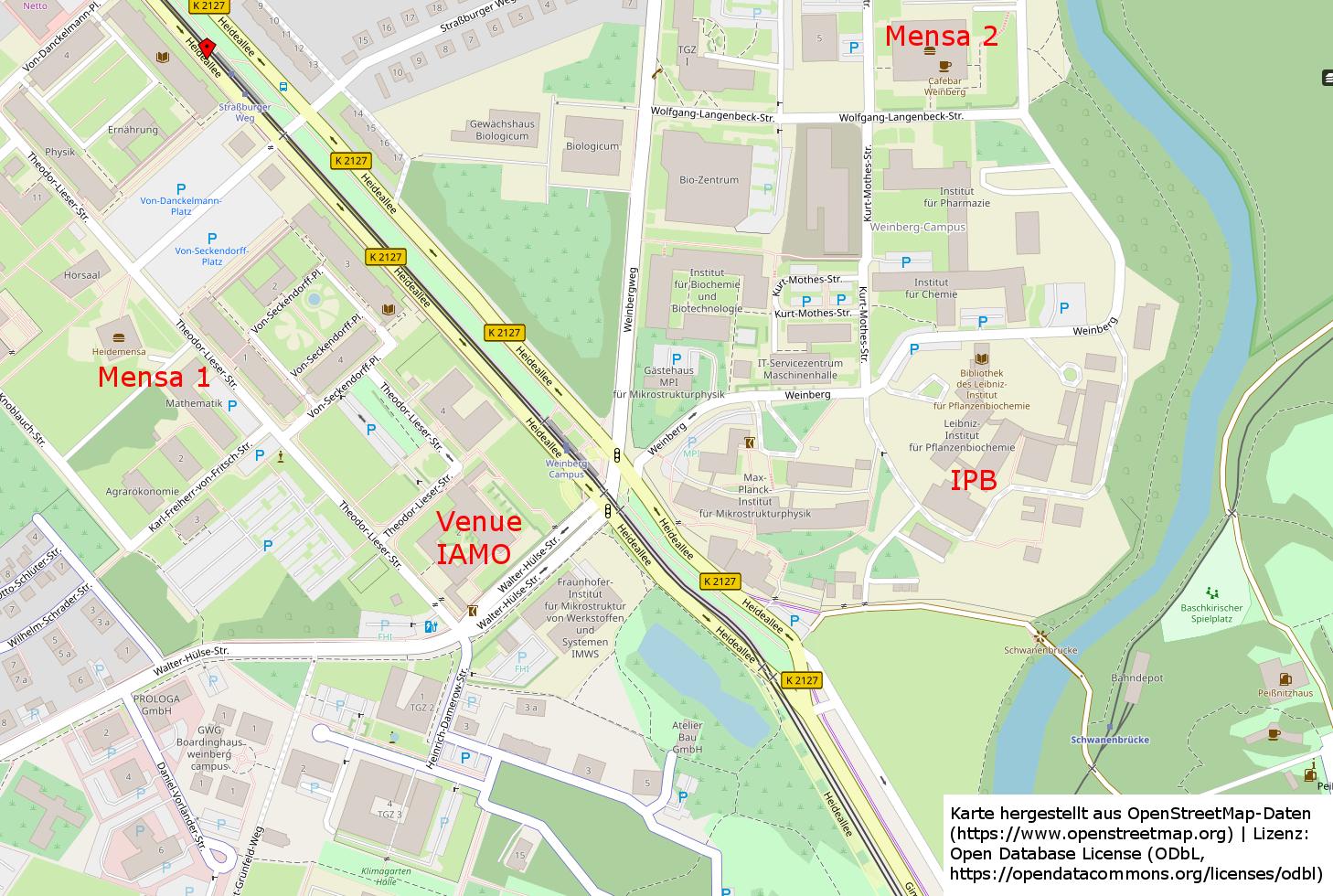 Map Weinbergcampus Halle